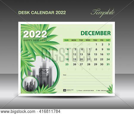 Calendar 2022 Design, December Month Template, Desk Calendar 2022 Template Green Flowers Nature Conc