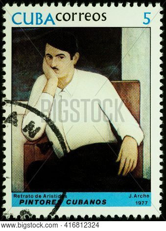 Moscow, Russia - April 12, 2021: Stamp Printed In Cuba, Shows Portrait Of Aristides By Jorge Arche (