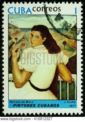 Moscow, Russia - April 12, 2021: Stamp Printed In Cuba, Shows Portrait Of Mary By Jorge Arche (1905-