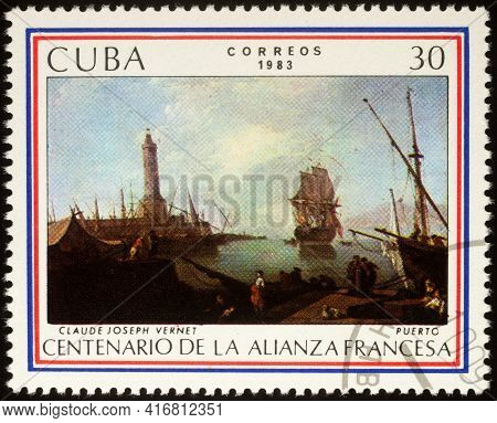 Moscow, Russia - April 14, 2021: Stamp Printed In Cuba, Shows Painting Harbour By French Artist Clau