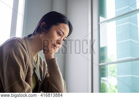 A Sad And Disappointed Asian Woman. Sad Concept