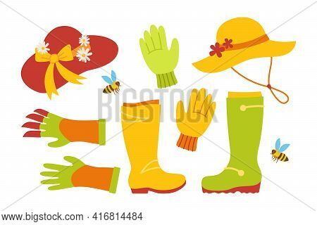 Garden Tool Set. Boots And Hat, Bee, Rake Gloves Tool Outdoor Activities. Work Equipment, Rural Gard