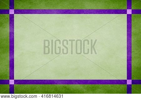 Green Grunge Textured Frame Around Mint Textured Parchment Background With Purple Grunge Textured Ri