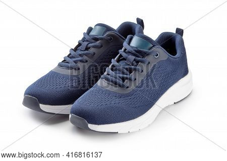 Pair Blue Sneakers Isolated On A White Background