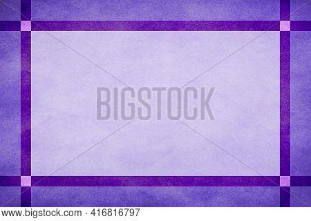 Purple Grunge Textured Frame Around Light Purple Textured Parchment Background With Dark Lavender Gr
