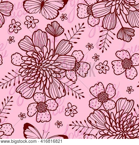 Seamless Vector Pattern With Red Contour Stylized Flowers And Butterflies On A Pink Background