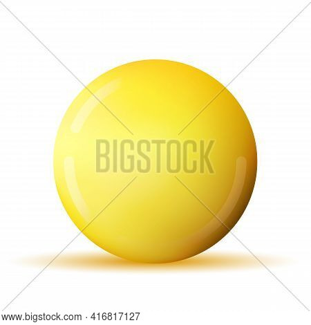 Glass Yellow Ball Or Precious Pearl. Glossy Realistic Ball, 3d Abstract Vector Illustration Highligh