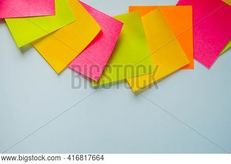 Colorful Sticky Notes On White Background. Space For Text