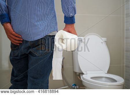 Men Have Contraction And Stomach Pain. Diarrhea Concept