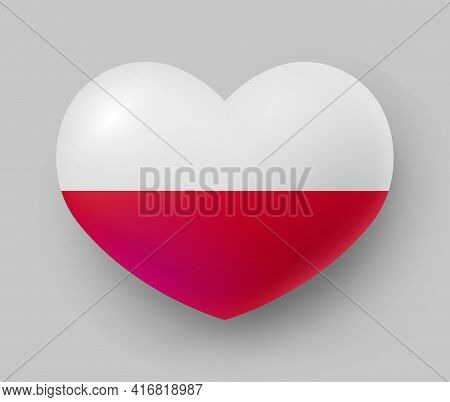 Heart Shaped Glossy National Flag Of Poland. European Country National Flag Button, Polish Symbol In