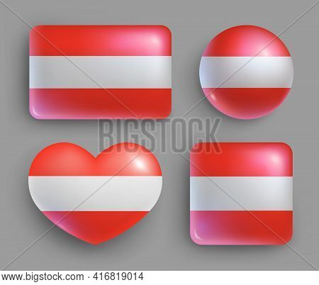 Glossy Buttons With Austria Country Flags Set. European Country National Flag Shiny Badges Of Differ