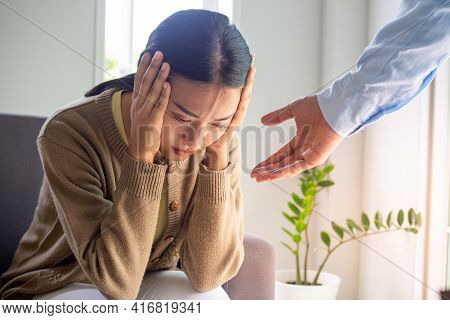 Female Patients With Mental And Physical Illnesses And Psychiatrists. The Psychiatrist Is Encouragin