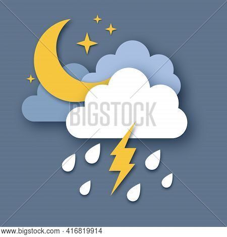 Crescent Moon With Raincloud And Lightening Bolt. Paper Cut Weather. Storm Time. Rain Drops In The D