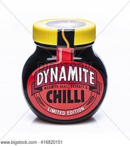 Swindon, Uk - April 14, 2021: Jar Of Dynamite Chilli Marmite Limited Edition On A White Background