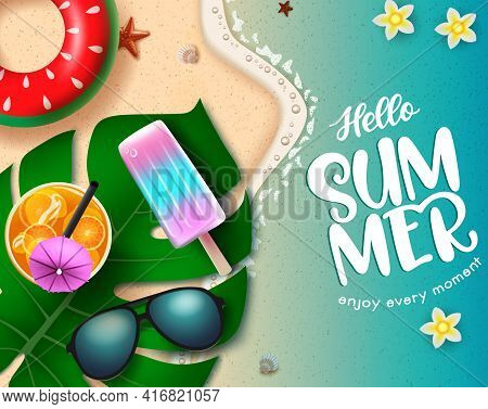 Hello Summer Vector Concept Design. Hello Summer Enjoy Every Moment Text In Seashore Background With