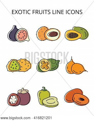 Exotic Fruits. Set Of Vector Icons In Flat Style