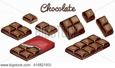 Chocolate Bars And Pieces Set. Sweet Brown Candy Chocolate Gourmet Delicious. Tasty Ingredient Sugar