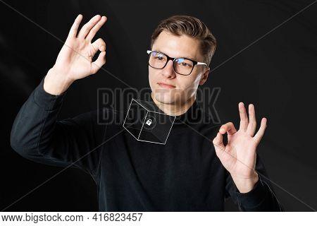 cool man wearing AR smart glasses futuristic technology