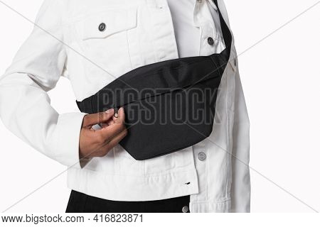 Man with black fanny pack