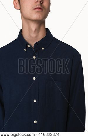 Basic dark blue shirt for boys teen's apparel studio shoot