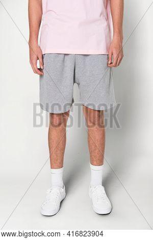 Man in GRAY shorts for summer apparel shoot