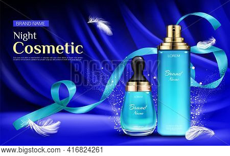 Night Cosmetic Beauty Serum Bottles With Droplet And Pump, Mockup On Blue Silk Draped Fabric Backgro