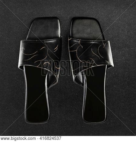 Black mules women's shoes fashion
