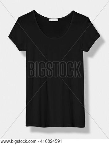 Basic black scoop neck tee women' s apparel front view