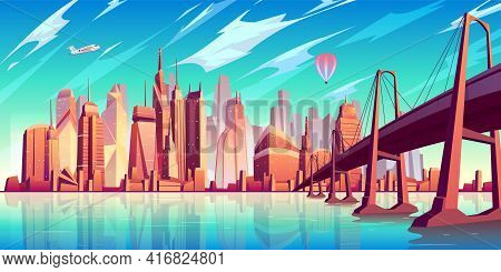 San Francisco Bay Landscape Cartoon Vector With Suspension Bridge Over Water, Airliner And Air Ballo