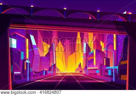 Modern Metropolis Night Street Cartoon Vector. Futuristic Architecture Houses, Skyscrapers Buildings
