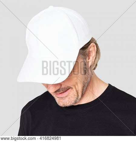 Man in white cap for senior apparel shoot