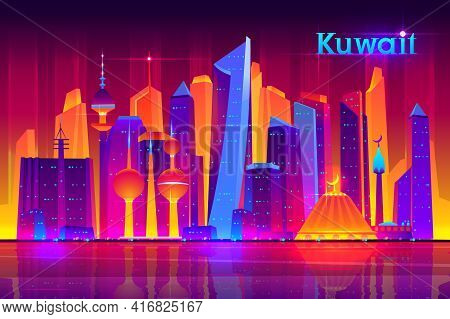 Kuwait Metropolis Nightlife Cartoon Vector Banner Template With Modern Asian, Muslim Culture City, F
