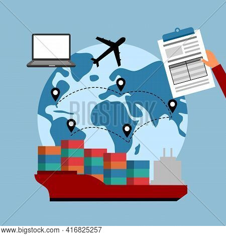 Online Business Global Trading With Express International Shipping Concept Vector Illustration. Comp