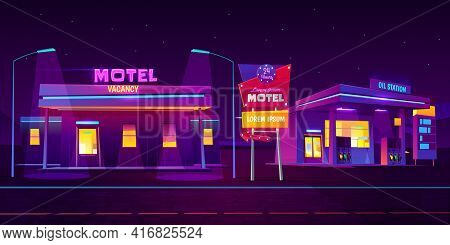 Roadside Motel With Car Parking And Oil Station Glowing At Night With Bright Neon Illumination Backg