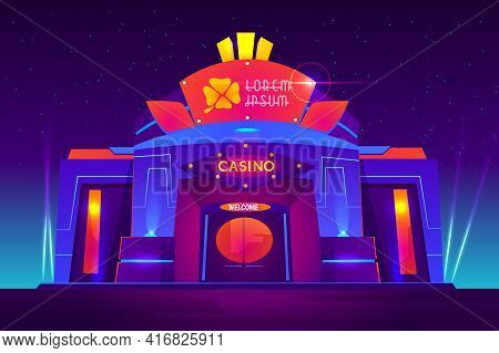 Casino Exterior With Neon Lights. Gambling House Front View With Clover Sign On Entrance. Modern Arc