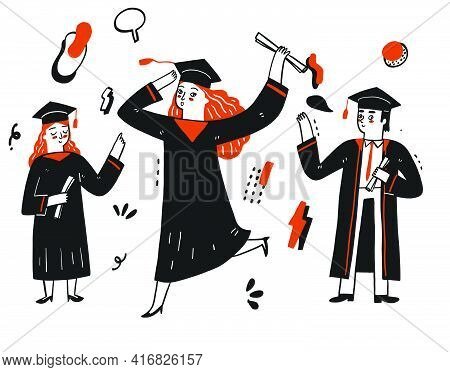 Student Are Celebrating For Graduation  From Academic Or College.