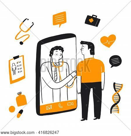 Patient Consultation To The Doctor Via Smartphone. Online Medical Support. Online Doctor. Healthcare