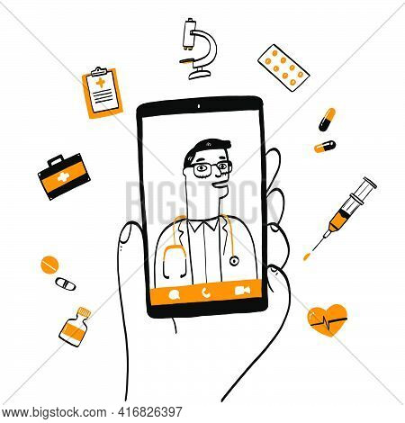 Smartphone Screen With Male Therapist On Chat In Messenger And An Online Consultation. Vector Doodle