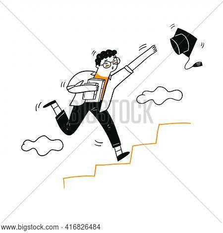 The Young Man Running Up To The Stair For Grabbing Graduation Cap, Vector Illustration Cartoon Doodl