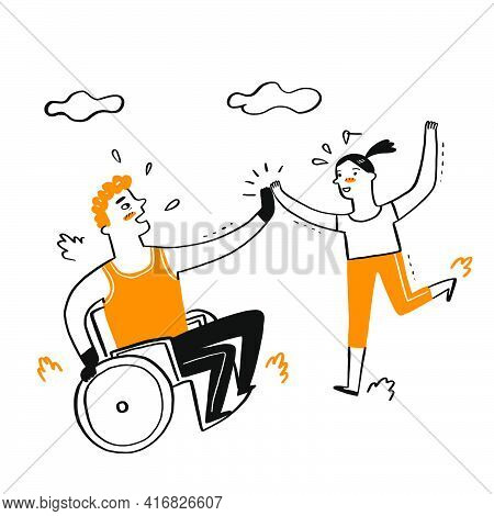 A Handicapped Man Sitting On A Wilchae Hifi With A Girl Represents Joy, Determination, Competition,