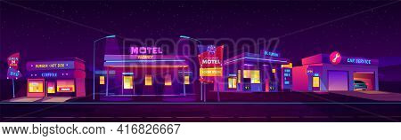 Night Roadside Motel With Parking, Oil Station, Burger And Coffee Bar And Car Service Glowing With N