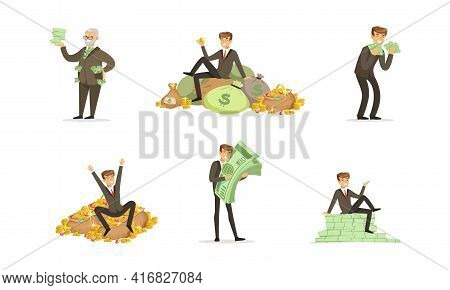 Happy Rich People Set, Men Millionaires Counting And Bathing In Money Cartoon Vector Illustration