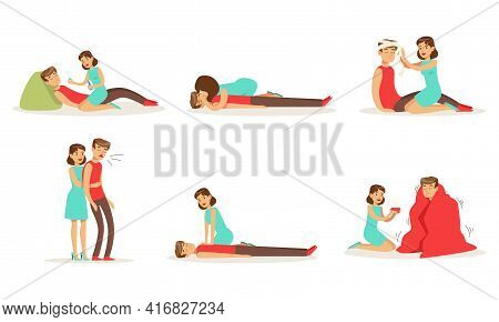 First Aid Resuscitation Procedures Set, Young Woman Providing First Aid Treatment To Person Cartoon