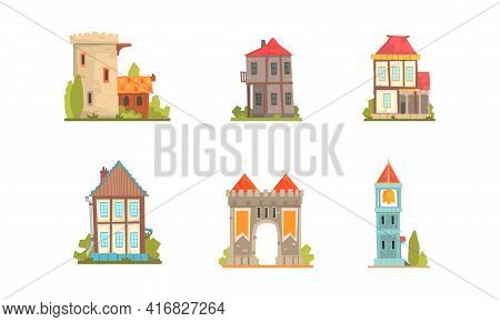 Medieval Buildings Set, Ancient Stone Mansions And Castles Cartoon Vector Illustration