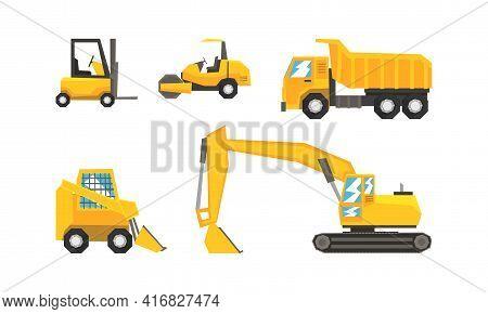 Construction And Industrial Vehicles Set, Excavator, Forklift, Truck, Tractor Cartoon Vector Illustr