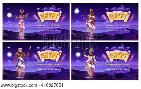 Egypt Banners With Ancient God Amun, Osiris, Pharaoh And Cleopatra On Background Of Night Desert. Ve