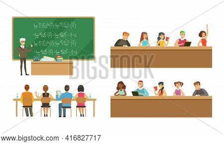 Students Studying At University Set, College And University Education, Students And Professors In Le