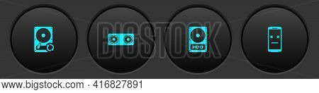 Set Hard Disk Drive Hdd Sync Refresh, Stereo Speaker, And Dead Mobile Icon. Vector