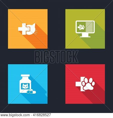 Set Veterinary Clinic, Clinical Record Pet On Monitor, Cat Medicine Bottle And Pills And Icon. Vecto