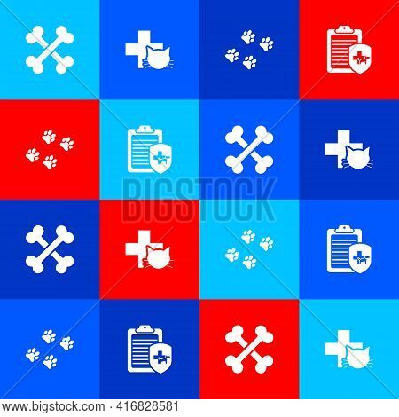 Set Crossed Bones, Veterinary Clinic, Paw Print And Clinical Record Pet Icon. Vector